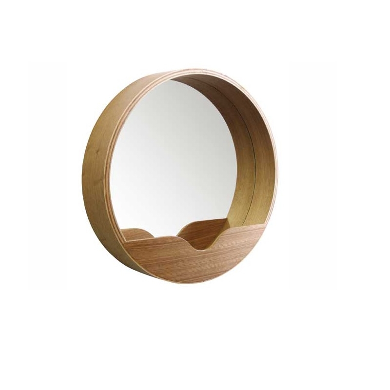 zuiver round wall mirror 60 wandspiegel mit ablage holz natur object designprodukte online. Black Bedroom Furniture Sets. Home Design Ideas
